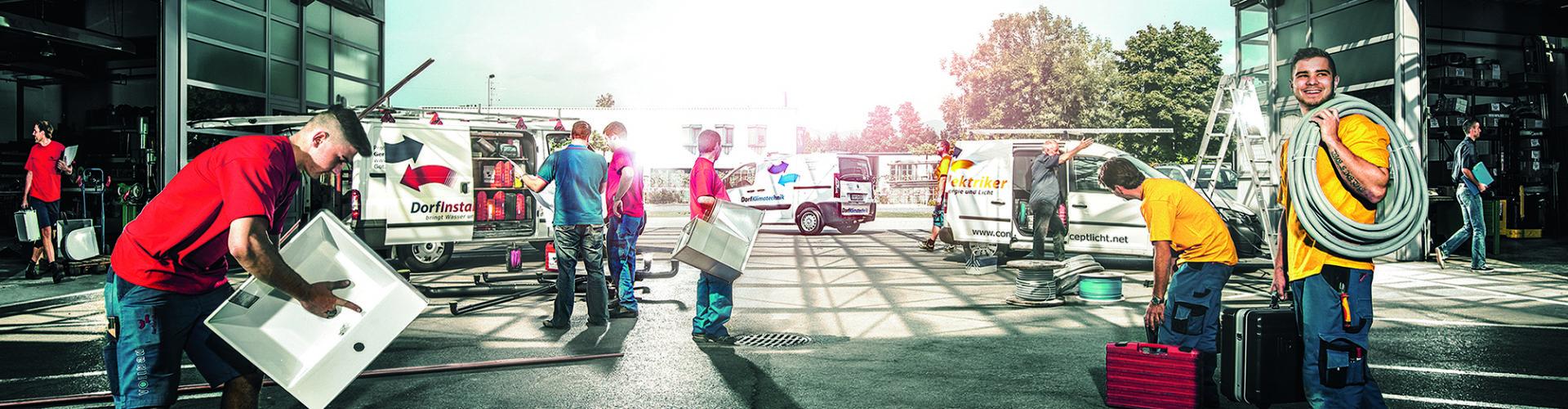 Dorfinstallateur Götzis mit Autos und Mitarbeiter